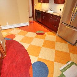 Custom Linoleum Kitchen Floor - Custom kitchen floor using Marmoleum linoleum tiles in six different colors.