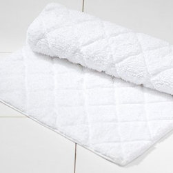 "Diamond Sculpted Bath Rug, 21 x 34"", White - Our bath basic has a raised diamond motif for a bit of extra texture underfoot. Made of pure cotton. Ultraplush 940-gram weight. Machine wash. Imported."