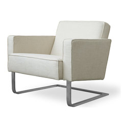 Gus Modern - High Park Chair, Cabana Husk - A modern club chair with a cantilevered stainless steel base, the High Park lounge chair by Gus Modern is a comfortable accent chair with clean, classic lines. The upholstery features French seams and the interior frame uses FSC-Certified woodl.