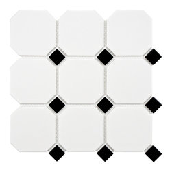 None - SomerTile 11.625 x 11.625 Victorian Octagon Matte White with Glossy Black Dot Po - Reminiscent of Victorian-era tile mosaics, this classic SomerTile octagon in a new oversized shape with smooth matte glaze and glossy black accents adds a stylish look perfect for any setting, whether it's modern construction or a historical renovation.