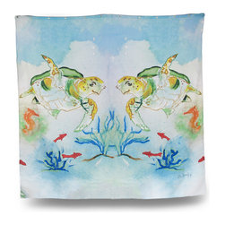 Zeckos - Betsy Drake Sea Turtle Print Shower Curtain 70 x 72 In. - This beautiful 70 inch by 72 inch polyester shower curtain features a swimming sea turtle design by artist Betsy Drake. The curtain features brass grommets and is machine washable , It will add a large splash of color to your bathroom. It makes a great gift.