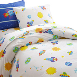 Wildkin - Olive Kids Out of this World Twin Duvet Cover - This bed is out of this world! Your child's room will blast off with fun! The duvet cover is a field of stars, moons and planets with rocketships and ufo's. Super soft 100% cotton percale.