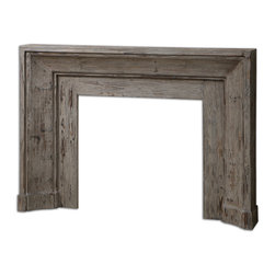 Uttermost - Khuri Wooden Mantel - A hearth-warming welcome! Packed with weathered appeal and smartly streamlined for space saving, this stonewashed gray, solid Fir wood mantel becomes the perfect backdrop for your vintage treasures. A wooden mantel is a surefire way to create a cozy scene in your living room or library.