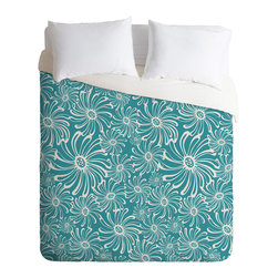 DENY Designs - Heather Dutton Bursting Bloom Peacock Duvet Cover - Turn your basic, boring down comforter into the super stylish focal point of your bedroom. Our Luxe Duvet is made from a heavy-weight luxurious woven polyester with a 50% cotton/50% polyester cream bottom. It also includes a hidden zipper with interior corner ties to secure your comforter. it's comfy, fade-resistant, and custom printed for each and every customer.