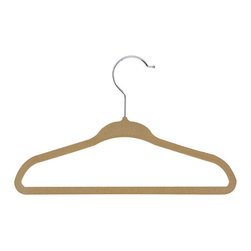 Honey Can DO - Kid's Velvet Hanger - Tan, Set of 60 - Versatile and lightweight, our tan tubular hangers are perfect for polos, t-shirts, and tank tops. The large rod hook is designed to fit over any closet bar. Integrated accessory hooks keep garments with straps in place.