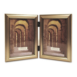 Lawrence Frames - Antique Silver Wood Double 5x7 Picture Frame - Classic Design - A classic silver color profile that has been complimenting homes for decades.  High quality black velvet backing for vertical tabletop display. Hand finished 5x7 Hinged Double picture frame is made with exceptional workmanship and comes individually boxed.