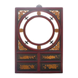 Golden Lotus - Chinese Red & Gold Bats Flowers Wall Mirror - Chinese Red & Gold Bats Flowers Wall Mirror