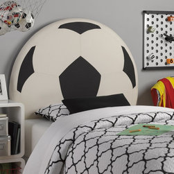 Powell - Powell Upholstered Soccer Ball Twin Headboard Multicolor - 889-039 - Shop for Headboards and Footboards from Hayneedle.com! Your little athlete will race to show everyone the Powell Upholstered Soccer Ball Twin Headboard in her room. A perfect centerpiece this headboard has a wood frame shaped like a huge soccer ball. It's upholstered in classic black and white checks made of easy-clean polyurethane. The soccer ball headboard attaches easily to twin size bed rails and is perfect for your little soccer fan. More About Powell FurnitureBased in Culver City Calif. the Powell company designs imports and distributes occasional dining accent and youth furniture across all style categories. Since 1968 Powell has grown to become one of the most recognized names in the home furniture industry. From sturdy safe children s furniture to elegant bedroom and other home collections Powell continues to develop new and exciting designs for homes around the globe.