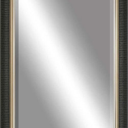 Paragon Decor - Beveled Mirror, Ribbed Black, Gold Inlay, 24x36 - Mirror, Mirror, on the wall, who's the most beautiful mirror of them all? Reflect your impeccable taste with this contemporary-style mirror, which features a gorgeous ribbed black with gold inlay frame and high-quality interior beveled mirror. This piece measures 29 inches wide, 2 inches deep, and 41 inches high.