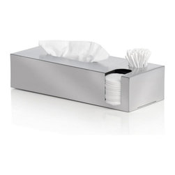 Blomus - Nexio Tissue Box and Dispenser, Matte - A solid case for the benefits of organization. This handsome, stainless steel tissue box and dispenser presents a pretty convincing argument against bathroom anarchy, and places you firmly in command of the situation. Who knew absolute power in the powder room could be so attractive?