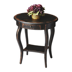 Butler Specialty - Butler Oval Accent Table - This graceful accent table is a wonderful addition to virtually any space. Crafted from hardwood solids, wood products and choice veneers, it features an aged, distressed finish over cherry veneers. Includes one drawer with antique brass finished hardware and a lower display shelf.