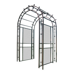 H Potter - H Potter Arch Arbor - Make a grand entrance. This impressive arbor blends stylish latticework with an airy design. You'll also notice the well-placed bars that feature finials that jut from the sides and archway.