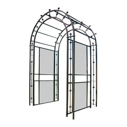 H Potter - Pergola Arch Arbor - Make a grand entrance. This impressive arbor blends stylish latticework with an airy design. You'll also notice the well-placed bars that feature finials that jut from the sides and archway.
