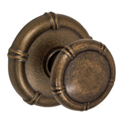 Fusion Hardware - Tai Chi Passage Knob Set - Bamboo symbolizes strength, endurance, and resilience and that is just as well because this Fusion Hardware knobset is backed by a lifetime warranty. The Tai Chi Knob with matching rose is the perfect addition to homes with an asian motif. Made from solid brass, it is has a medium bronze finish.  Also available as dummy or privacy set.