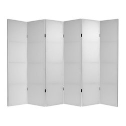 Oriental Furniture - 6 ft. Tall Do It Yourself Canvas Room Divider - 6 Panel - At seventy one inches, these plain design room dividers are just under six feet tall; a classic height for a portable privacy screen. Constructed with sturdy, mitered Spruce wood panel frames. Art quality white canvas fabric is wrapped around the frames to create opaque panel shades. Either use these low priced high quality room dividers as they are, without artwork, or add your own art, photos, maps, or documents. They are a great place to begin when designing an inexpensive booth for a trade show. For business or pleasure, there are innumerable ways to use these simple, practical, affordable partitions.