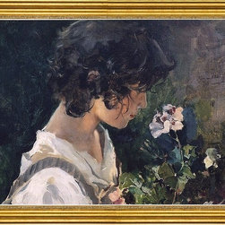 """Joaquin Sorolla Y Bastida-16""""x24"""" Framed Canvas - 16"""" x 24"""" Joaquin Sorolla Y Bastida Italian Girl with Flowers framed premium canvas print reproduced to meet museum quality standards. Our museum quality canvas prints are produced using high-precision print technology for a more accurate reproduction printed on high quality canvas with fade-resistant, archival inks. Our progressive business model allows us to offer works of art to you at the best wholesale pricing, significantly less than art gallery prices, affordable to all. This artwork is hand stretched onto wooden stretcher bars, then mounted into our 3"""" wide gold finish frame with black panel by one of our expert framers. Our framed canvas print comes with hardware, ready to hang on your wall.  We present a comprehensive collection of exceptional canvas art reproductions by Joaquin Sorolla Y Bastida."""