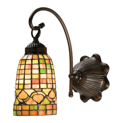 Meyda - Meyda Tiffany Acorn Wall Sconce - Louis Comfort Tiffany Inspired Golden Acorns Dance Playfully In A Ring Around These Geometric Grid Patterned Elongated Shades In Autumn Harvest Honey Rust and Olive Green. The Simply Stated One Light Wall Sconce is Finished In A Warm Mahogany Bronze. Meyda Tiffany was founded when Meyer Cohen was asked by his wife Ida (whose names were combined into the company name Meyda) to build a stained glass window in their kitchen so they wouldn't have to look at the vintage cars in their neighbor's driveway. What began as a hobby evolved into America's leading and oldest manufacturer of custom and decorative lighting. Today Meyda is still a family-run business with the Cohens' son Robert at the helm. Features include Theme: Victorian Lodge Tiffany Family: Tiffany Acorn Every Meyda Tiffany item is a unique handcrafted work of art. Natural variations in the wide array of materials that they use to create each Meyda product make every item a masterpiece of its own. Photographs are a general representation of the product. Colors and designs will vary.. Specifications Number Of Bulbs: 1 Bulb Wattage: 60 Bulb Type: Medium Base.