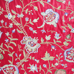 Crewel Fabric Lotus Vine Dreams Red Cotton Velvet- Yardage - Fabric Type: Cotton Velvet