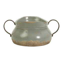 Imax - iMax Calista Short Bowl with Metal Handle X-40067 - A pale aqua rustic full bodied ceramic bowl has a natural quality like a handmade collectible piece from ancient civilizations. This piece is highly versatile and well suited for a variety of decor.