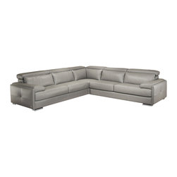 Nicoletti - Nicoletti Gary Italian Leather Ash Gray Sectional Sofa - Italian Leather sectional by Nicoletti is available in Ash Gray. This eye catching sectional is fully upholstered in top grain thick italian leather. While fashionable and stylish, this sectional also features fixed seats and high density cushions for lumbar support as well as adjustable headrests.