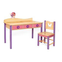 "Magic Garden Desk/Chair set, Natural - Our child-size Magic Garden desk and chair set has 3 drawers and lots of desktop space. Set is made in solid hardwood finished with natural and colored stains. Chair back has a butterfly shaped cut-out.   Includes 3 Flower knobs and butterfly finial for wave shaped back piece.  Desk is 48""L, 24""D, 28""H.  Chair is 16""D x 16""W x 32.5"" H. Removable hutch with corkboard back and bookshelf sold separately."