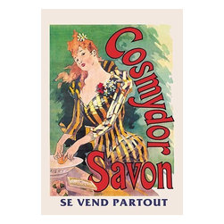 "Buyenlarge.com, Inc. - Cosmydor Savon - Gallery Wrapped Canvas Art 12"" x 18"" - Poster advertising Cosmydor soap. The rich colors are meant to reflect what the soap will do to one's complexion and skin. Known as the father of the modern poster, Jules Cheret (1836 - 1932) was a French painter and lithographer. He worked on everything from theater to advertising. Here advertising Cosmydor soap, Cheret has drawn on one of his compositional standbys: an attractive and fashionably dressed young woman shown using the featured product. The artist's use of cross hatched lines to create tonal shading in the woman's face, wrists and decollete is clearly visible."
