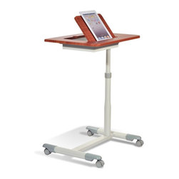 Jesper - Jesper Sit & Stand Height Adjustable Tablet Table - 203-WAL - Shop for Carts and Stands from Hayneedle.com! The Jesper Sit & Stand Height Adjustable Tablet Table is a mobile of freestanding work table for your home or remote office use. It's engineered to accommodate tablet use but is large enough to laptops and other desk materials should that be your preference. This piece features smart and stylish design with a solid wood top in your choice of finish plus a clean white steel frame atop smooth-rolling castors. It's height adjustable too making it an ideal companion to your standard computer desk. About Jesper OfficeJesper Office originally based in Denmark specializes in making modular office furniture for homes and small businesses as well as a complementary line of modular library and home entertainment furniture. Now operating with a U.S. warehouse in Branchburg N.J. Jesper is committed to making high-quality flexible beautiful pieces with respect toward the environment. Furniture is made with contract-quality chipboard composed of pressed wood shavings and wood veneer a resource-effective and earth-friendly product.