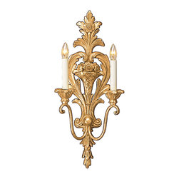 """Inviting Home - French Style Wall Sconce - 18th-century French style wall sconce; 9-1/2"""" x 22-1/2""""H; hand-crafted in Italy; The profusion of foliage floral motif and the scrolled candle arms give this 18th-century French style sconce it's charming character. The shape and design of this wall sconce represents the much admired aesthetic of 18 century. Hand crafted in Italy by master artisans this wall sconce aptly integrates function and decoration while simultaneously flattering to empress. The back of the sconce has a bursting leaf motif with flower center on the top and leaf drop on the bottom. This two-light electrified French style wall sconce is designed for candelabra bulbs only. sconce has a distinctive antiqued gold leaf finish. UL approved - dry location; hardwire; 2x 60W max. candelabra bulds; bulbs not included. Handcrafted in Italy."""