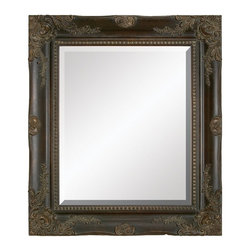 Aspire - 36 in. Rectangular Wall Mirror - This handsome wall mirror features an elegant traditional style wood frame finished in antique brown. Wood. Color/Finish: Antique brown. The beveled mirror itself measures 25 in. x 21 in.. 36 in. H x 32 in. W x 2.5 in. D. Weight: 28 lbs.