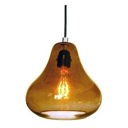 Amber Kiss Pendant Light - hand blown glass by Luxello - Amber Kiss Pendant Lamp in finished in a dark Amber glass color by Luxello. Each kiss glass shade is hand blown, polished and assembled at the glass studio in Los Angeles, California. The Amber glass diffuser shade surrounds a black bulb socket. The amber kiss pendant light is an excellent combination with light to medium warm brown colored surroundings. An E26/27 socket provides various light bulbs options including an old vintage Edison to an energy saving LED PAR spot.