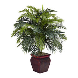 Nearly Natural - Areca with Decorative Planter Silk Plant - Billowy, wispy, and wonderfully wild, this gorgeous Areca plant will demand attention no matter where you choose to put it. With beautiful faux fronds and leaves bursting out of a handsome vase in every conceivable direction, it adds a touch of boldness to any decor, without ever needing water! This Areca makes a great accent piece, or an ideal office decoration.