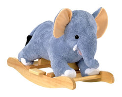 """Charm Co. - Elmer Elephant Rocker with Sound - Little Elmer is a wonderful toddler elephant rocker that features a """"baby blanket"""" soft powder blue plush body with pink and white accents. This rocking elephant sits low to the ground to provide a safe and comfortable ride for toddlers. Squeeze his ear to hear him """"trumpet"""", this feature requires 2AA batteries (not included). Add Elmer Elephant to your nursery!"""