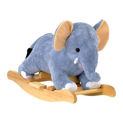 "Charm Co. - Elmer Elephant Rocker with Sound - Little Elmer is a wonderful toddler elephant rocker that features a ""baby blanket"" soft powder blue plush body with pink and white accents. This rocking elephant sits low to the ground to provide a safe and comfortable ride for toddlers. Squeeze his ear to hear him ""trumpet"", this feature requires 2AA batteries (not included). Add Elmer Elephant to your nursery!"