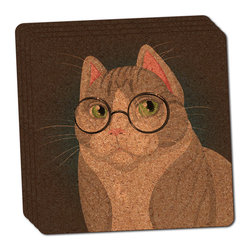 """Made on Terra - Sir Cat Wearing Glasses Thin Cork Coaster Set of 4 - You're just cleaning up after your epic party when you realize it... something's different. Unlike all those other times, you're not mopping up cup condensation from your counters and tables. This time, everyone used a coaster. Everyone. Maybe it's because you handed out a coaster with every glass. No. You've tried that before. No, this time it's because of the actual coasters. You found the cutest Made On Terra printed cork coasters. You love that everyone commented on how unique they were,  from the light-weight, thin cork material to the printing that creates a cool and subtle effect. Plus, they're really absorbent, but dry quickly. And they're made from an eco-friendly, sustainable resource, so that makes you feel pretty great, too. Choose from Made on Terra's many fabulous cork coasters. Measures 4"""" x 4"""" x 1/8"""". Made of thin cork. Super cute and nicely absorbent. Sold in sets of four."""