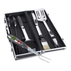 Maverick - Grill Accessory Kit & Carrier - A MUST FOR ANY GRILLING CHEF! Made of Stainless Steel and durable rubber, our BBQ Accessory Kit includes the five indispensable tools for grilling a spatula for flipping, tongs for spearing and turning, a basting brush, grill cleaning brush, and Maverick's ET-64 Fast Read Redi-Fork Pro LCD Thermometer. Each tool comes with Stainless Steel hanging loops for added convenience. The set of five tools comes in an attractive carrying case for easy transport and storage.Tool Dimensions L/ w/H (in inches) Flipping Spatula 19.50 x 3.50 x 1.25, Basting Brush 18.75 x 2.00 x 1.25, Grill Cleaning Brush 17.34 x 2.36 x 1.25, Tongs 18.00 x 5.00 x 3.25, ET-64 Fast Read Redi-Fork Pro LCD Thermometer 14.50 x 1.75 x 1.00, Carrying Case 19.75 x 7.50 x 3-1/8