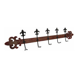 Zeckos - Wooden Fleur De Lis Distressed Finish Decorative Wall Hook - This distressed finish scroll designed wooden wall hanging features 5 stylized metal Fleur De Lis hooks perfect for hanging coats, bags, the dog's leash or even mugs and pot holders in the kitchen. It's great in an entryway, guest bedroom or even the bath for towels and robes. This 40.5 inch long, 8 inch high, 3 inch deep (103 x 20 x 8 cm) decorative wall hanging easily mounts from the 2 keyhole hangers attached on the back, and it's great as a housewarming gift sure to be appreciated