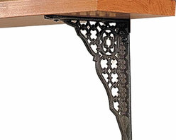 Renovators Supply - Shelf Brackets Black Aluminum 7'' x 5'' Shelf Bracket | 19527 - This beautiful pair of Victorian style shelf brackets will add an old world charm to your home. Easy to install, you can decide how far apart you wish brackets to be placed. Display your family heirlooms, or organize your kitchen. An easy way to embellish your home. Measures: 7 inch x 5 inch