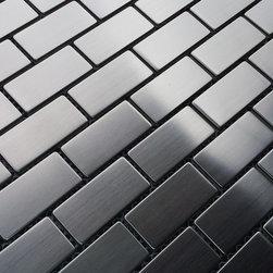 "$14.95SF Stainless Steel 1x2 Brick Metal Mosaic Tiles - Premium 304 Stainless Steel 1x2"" Brick Metal Mosaic from thebuilderdepot.com"