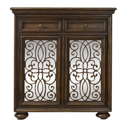 Silver Nest - Swirl Fretwork Chest - Dark wood trim chest with swirl fretwork doors.