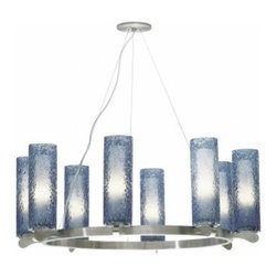 "LBL Lighting - LBL Lighting Rock Candy 8-light chandelier - The Rock Candy 8-light pendant has been designed and made by LBL lighting. This pendant has five cylinders of mouth-blown glass in Opal or the following colors in transparent colors dark amber, steel blue, smoke, amethyst, clear, attached to a metal ring in bronze or satin nickel. Translucent Colors are rolled in clear crystal frit and flash heated to create this uexclusive texture and feature an inner opal glass diffuser to add intensity to the chandelier. This pendant can be adjusted to your specifications it comes with the chord lenght of 12' of field-cuttable aircraft cable to adjust to the perfect size. The fixture Includes 8 x G9 base 60 watt halogen lamps and is cETL LISTED.         Product Details: The Rock Candy 8-light chandelier has been designed and made by LBL lighting.  This pendant has five cylinders of mouth-blown glass in Opal or the following colors in transparent colors dark amber, steel blue, smoke, amethyst, clear, attached to a metal ring in bronze or satin nickel. Translucent Colors are rolled in clear crystal frit and flash heated to create this uexclusive texture and feature an inner opal glass diffuser to add intensity to the chandelier. This pendant can be adjusted to your specifications it comes with the chord lenght of 12' of field-cuttable aircraft cable to adjust to the perfect size.  The fixture Includes 8 x G9 base 60 watt halogen lamps and is cETL LISTED. Details:                         Manufacturer:            LBL Lighting                            Designer:            LBL Lighting                            Made in:            USA                            Dimensions:            Height: 11.6"" (29.5 cm) X Diameter: 31.3"" (79.6 cm)                            Light bulb:            8 x G9 base 60W halogen lamps                            Material:            glass, metal"