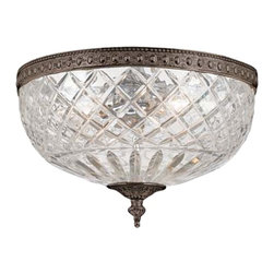 "Crystorama - Crystorama Majestic English Bronze 12"" Wide Ceiling Light - In a rich English Bronze finish with a lead crystal dish this flushmount brings a comfortably warm antique look to your decor. English Bronze finish. 24 percent lead crystal. Takes three 60 watt bulbs (not included). 12"" wide. 6 1/2"" high.  English Bronze finish.   24 percent lead crystal.   Takes three 60 watt candelabra bulbs (not included).   12"" wide.   6 1/2"" high."