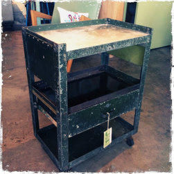 Vintage - Vintage green galley shelf cart,