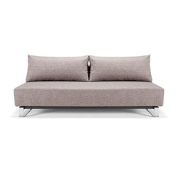 "Innovation USA - ""Innovation USA"" Supermax Sleek Mixed Dance Light Grey Sofa with Chrome Legs - Complete your living room with this beautiful ""Innovation USA"" Supermax Sleek Mixed Dance Light Grey Sofa with Chrome Legs. It has a modern style with high quality materials. Sofa features Excess pocket spring, that make sofa more comfortable. It has a mixed dance grey upholstery and chrome legs.    Features:"