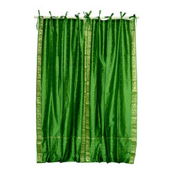 Indian Selections - Pair of Forest Green Tie Top Sheer Sari Cafe Curtains, 43 X 24 In. - Several sizes available