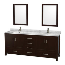 "Wyndham Collection - Sheffield 80"" Espresso Double Vanity, Carrera Marble Top, Undermount Square Sink - Distinctive styling and elegant lines come together to form a complete range of modern classics in the Sheffield Bathroom Vanity collection. Inspired by well established American standards and crafted without compromise, these vanities are designed to complement any decor, from traditional to minimalist modern. Available in multiple sizes and finishes."