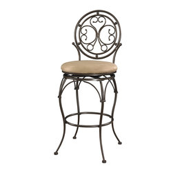 Powell - Powell Big and Tall Scroll Circle Back Barstool in Bronze - Scroll Circle Back Barstool in Bronze belongs to Big and Tall Collection by Powell The Big and Tall Scroll Circle Back Barstool has an elegant design and style. The stool features a warm bronze finish and a plush tan upholstered seat. Designed to suit people large and small, the seat is a generous size for optimal comfort. The tall back features an eyecatching scroll design. Perfectly suited for a kitchen bar or high top table.   Barstool (1)