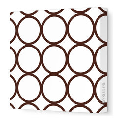 """Avalisa - Pattern - Circles Stretched Wall Art, 12"""" x 12"""", Brown - Sleek, clean, uncomplicated — if that's your style, this is your art statement. The circles motif on unframed stretched fabric is pure and simply you!"""