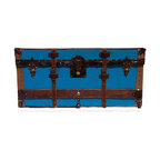 Trunk Face with Belts - Wall hanging reproduction of an antique trunk. This hand-crafted, one-of-a-kind wall art has genuine antique and vintage trunk hardware and comes complete with ready-to-hang attached hardware.