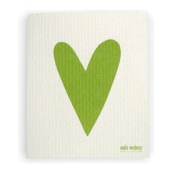 Swedish Dishcloth Heart, Green - THE SWEDISH ECO-FRIENDLY DISHCLOTH: The dry sponge cloth was invented in 1949 by the Swedish engineer Curt Lindquist, who discovered that a mixture of natural cellulose (wood pulp) and cotton can absorb an incredible 15 times its own weight in water.