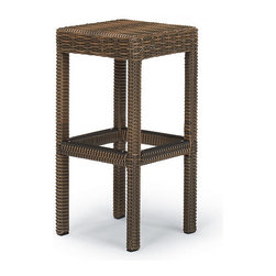 Frontgate - Hyde Park Backless Outdoor Bar Stool, Patio Furniture - Modern, clean lines and a fresh, squared shape. Richly hued, ocean-gray fibers. Handwoven premium resin wicker. Rust-resistant powdercoated frame. Protective footrest on all four sides. A comfortably scaled seat you can easily slide on and off of makes our Hyde Park Backless Bar Stool a comfortable composition for most any setting. The ocean-gray finish of the all-weather wicker is supported by a hidden rust-resistant, powdercoated aluminum frame. Bar stool cushion sold separately. Part of the Hyde Park Collection. .  .  .  .  .